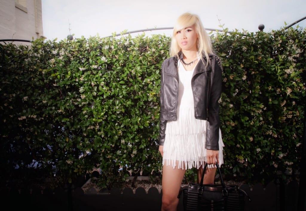 Black Leather Jacket and White Fringe Dress 2