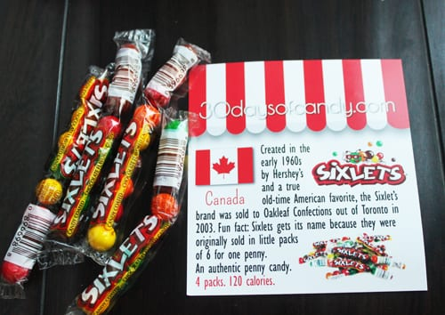 30 days of candy - Canada Sixlets