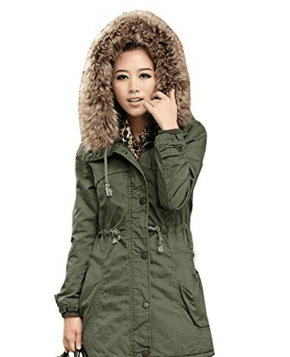 DEARCASE Women's Hooded Drawstring Military Jacket Parka Coat