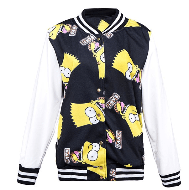 BART SIMPSON PRINTED CONTRAST BASEBALL JACKET