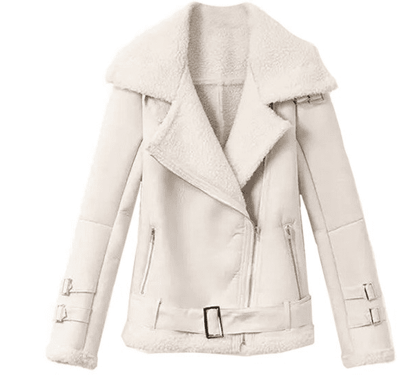 DIVA BUCKLE HEM SHEARLING JACKET