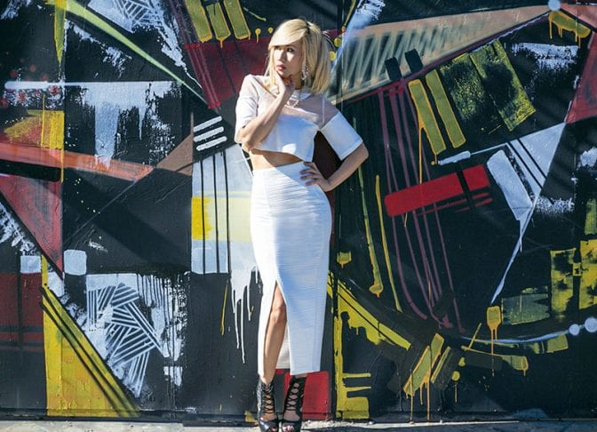 White Crop Top and Bandage Skirt